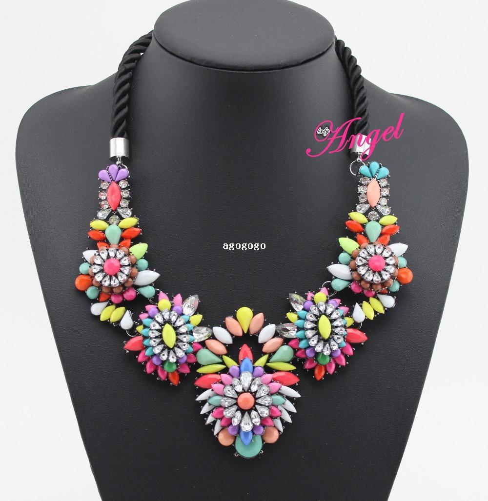fashion brand jewelry new arrival 2014 shourouk rainbow flower stone necklace pendants for women statement quality choker luxury