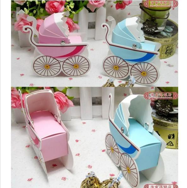 Wholesale  Hot Sell 100pcs/lot Wedding Favor Box Bomboniere Baby Shower  Favors Baby Day