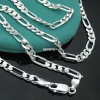 Collier 925 - PBN102 / Argent en argent sterling 925 Figaro Chain Necklace 4mm 16-30
