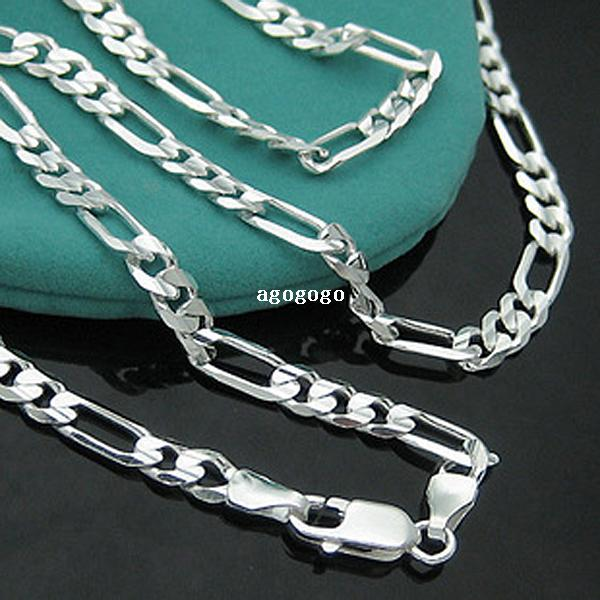 """925 Necklace - PBN102 / Men's Sterling Silver 925 Figaro Chain Necklace 4mm 16-30"""" Fashion Cheap 925 Sterling Silver Jewelry"""