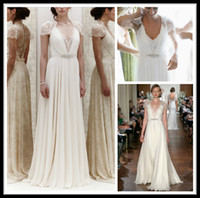 Sheath/Column Model Pictures V-Neck Hot Sales Jenny Packham Summer Beach Wedding Dresses Sexy Deep V Neck Cap Sleeve Lace Beads Chiffon Sheath Wedding Bridal Gown