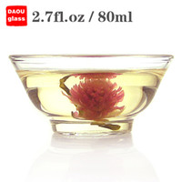 Wholesale Tea Bowls Wholesale - 6PC   Lot 2.7 fl.oz 80ml Small Bowl Handmade Heat-Resisting Clear Pyrex Glass Water Wine Coffee Chinese Kungfu Tea Cups Drink Mugs