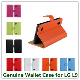 Wholesale Lg Optimus P769 - Luxury Genuine Stand Wallet Leather Case for LG Optimus L9 P760 P769 With Credit Card Holder 2014 New Cell Phone Cases 11 Colors