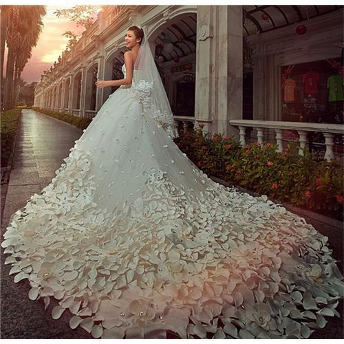 Discount Rose Petal Wedding Dresses Cathedral Train Strapless Bridal ...