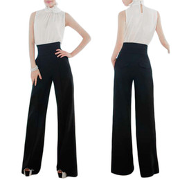Wholesale Wide Leg Pants Xl - S5Q Wide Leg Long Pants Trousers Ladies Women Casual Black Slim High Waist Flare Pants AAADPM