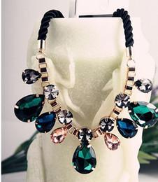 Wholesale Neon Fashion Necklaces - Hot Sale Fashion Gold Chain Neon Multicolor Acrylic And Rhinestone Pendants Choker Necklaces For Women