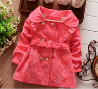 Wholesale Korean Button Down - 2014 Autumn Children Korean Clothing Girl's Cotton Collar Wind Coat Jacket Flower Button Lace Outwear Red Pink Green Girl Clothes K0341