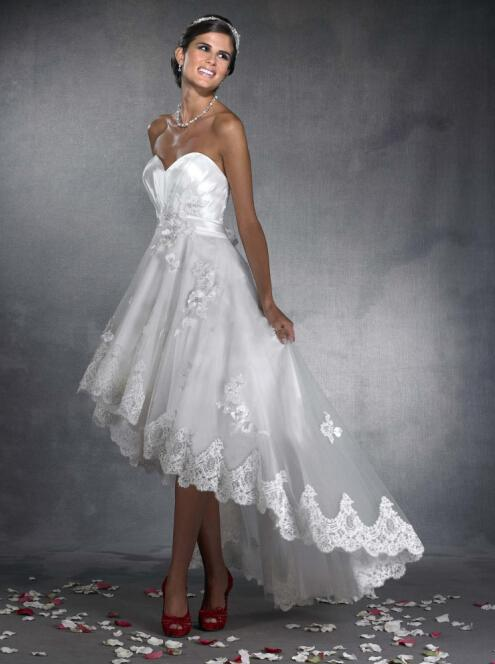 High low a line wedding dresses taffeta sweetheart organza for Hi lo hemline wedding dresses