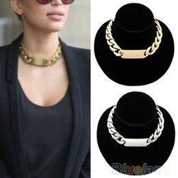 Wholesale Chunky Silver Link Necklace - Luxury Jewelry Silver Gold Punk Golden Aluminum Alloy Link ID Chunky Chain Choker Short Necklace for Women Party Wear
