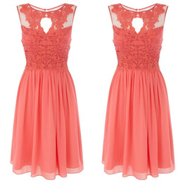 Wholesale Cheap Short Blue Dresses - 2015 New Cheap simple Arrival Maid Of Honor Bridesmaid Dresses Under $90 Formal Gown With Sheer Neckline Coral A-Line Lace And Chiffon