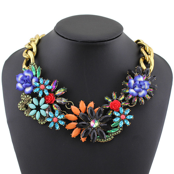 2014 Fashion Necklace Wholesale Shourouk Chain Chunky Choker Statement Necklace & Pendant Fashion Fower Necklace Women