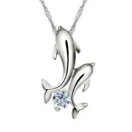 2019 bijoux antiallergiques Collier pendentif dauphins d'argent, haute qualité, pendentifs en argent sterling 925 antiallergiques, bijoux de mode en gros, DX42 bijoux antiallergiques pas cher