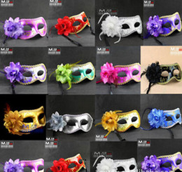 Wholesale Colorful Mask For Party - Women Sexy Hallowmas Venetian half mask masquerade masks flower feather mask dance party Theatre Prop Ball Wedding Festive Mask colorful