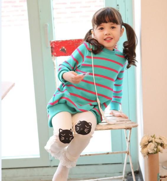 الفتيات ملابس الخريف اللباس اللباس 2 قطعة بدلة الكرتون القط شريط بلوزات اللباس + طماق فتاة مجموعات أطفال فساتين مجموعة GX760 الحرة shiping