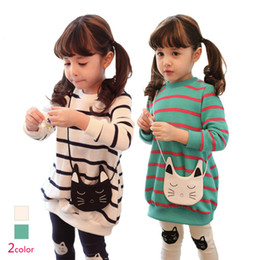 Wholesale Cat Long Sleeves Suit - Fall Quality Children Clothing Dress 2pcs Set Long Sleeve Cat Stripe Dress + Leggings Baby Girl Suit Kids Leggings Set Child Wear GX760