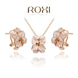 colar para o presente do natal da amiga Desconto ROXI presente de Natal moda cristal flores set, presente para namorada 100% feitos à mão, moda brincos de jóias + colar, 2070022780S