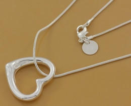 Wholesale Cheap Sterling Silver Pendants - 2017 NEW cheap silver jewelry Free shipping 925 Sterling Silver fashion charm Heart love PENDANT necklace 1003