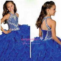 çocuklar için mavi kıyafetler toptan satış-Muhteşem Kızlar Pageant elbise AB Taşlar ile 2016 Halter Boyun Kristal Ruffles Organze Lace Up Geri Kraliyet Mavi Çocuk Abiye RG6682