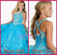 vestidos de concurso de aqua al por mayor-Aqua Blue Girls Vestidos del concurso 2016 Halter con perlas de diamantes de imitación volantes Organza piso de longitud vestidos de bola del desfile del niño vestidos de fiesta RG6684