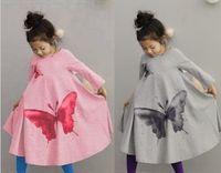 Wholesale Hemline Lengths - Children Beach Dress Big Butterfly Leisure Bohemian Girl Long Dress Hemline Vintage Kids Bow Dresses Fall Child Clothing 100-140 GX763