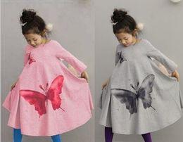 Wholesale Wholesale Vintage Dress Children - Children Beach Dress Big Butterfly Leisure Bohemian Girl Long Dress Hemline Vintage Kids Bow Dresses Fall Child Clothing 100-140 GX763