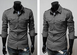 Wholesale Cheap Casual Jackets Men - Cheap Men Fashion Stylish Outerwear Mens Apparel Trendy double pocket Shirts Jacket insignia design men's casual long-sleeved shirt Slim