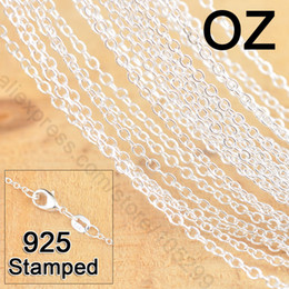 "Wholesale 925 Sterling Silver Link Necklace - 50Pcs 18"" 925 Sterling Silver Jewelry Link Rolo Chains Necklace With Lobster Clasps Women Jewlery Factory Price Stock Fast Free Shipping"