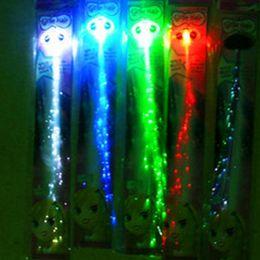 Wholesale Red Light Hairpins - Fiber Luminous Braid Multicolor LED Flash Light Optical Fibers Braids Luminous Hair Bars Party Birthdays KTV Concerts Hair Halloween Day