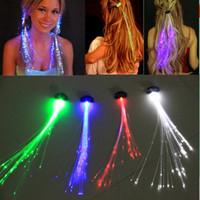 trenzas de pelo intermitente al por mayor-Led Hair Flash Trenza Decoración del cabello Fibra Trenza luminosa Fiesta de Navidad de Halloween Holiday KTV Accesorios coloridos para el cabello LED Flashing Hair