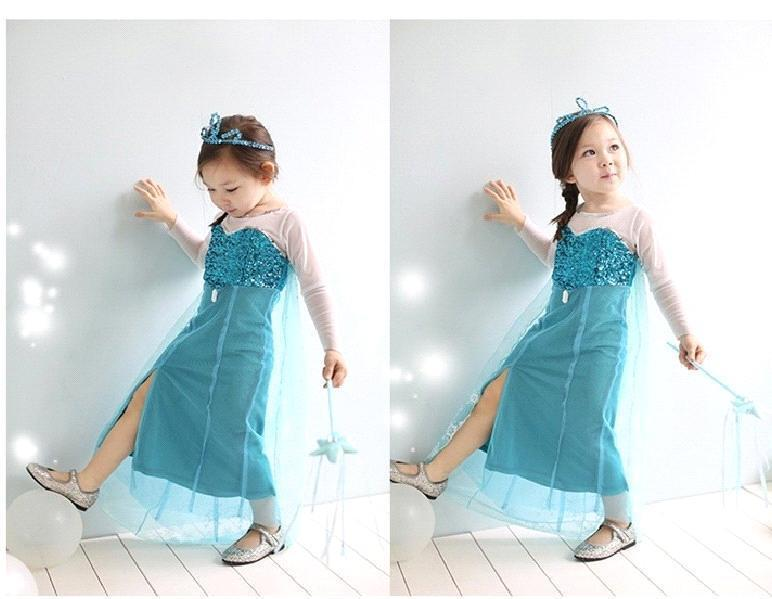 bb605da4314f FROZEN Princess Cute Baby Girls One-piece Dresses Children s Net ...