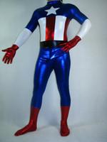 ingrosso abito bianco catsuit vestito-Foreign Captain America all-inclusive collant di spandex Halloween Masquerade Costume teatrale costumi del vestito costume da eroe del film cosplyzentai
