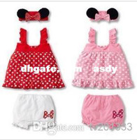 Wholesale Dress Polka Dot Pink Girls - Wholesale - Lovely baby girl 3-piece suit: mouse ears' headband + polka dot dress + white shorts  2 colors: Pink and Red