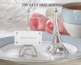 Argentina Favores de la fiesta Torre Eiffel Place Card Holder con la tarjeta de presentación correspondiente (fotos reales) decoración de boda Envío gratis 25PCS / LOT Suministro