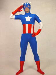 Captain America Halloween Costumes Canada - Captain America Super spandex tights full coating performance clothing props Halloween costume party dress costume movie hero costume zentai