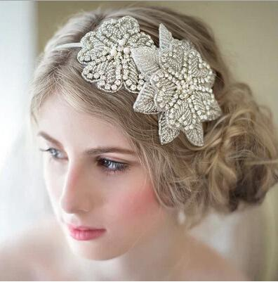 White Bridal Hair Clasp Flowers Beading Wedding