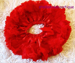 Wholesale Newborn Red Clothes - Hot Sale Kids Clothes Ruffle tutu skirt Baby Valentine Outfit Chiffon Red Petti Skirt Newborn Tutu Skirt