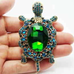 Al por mayor-estilo retro Verde Rhinestone Crystal Turtle Animales Gold Plate Broche Pin Envío Gratis desde fabricantes