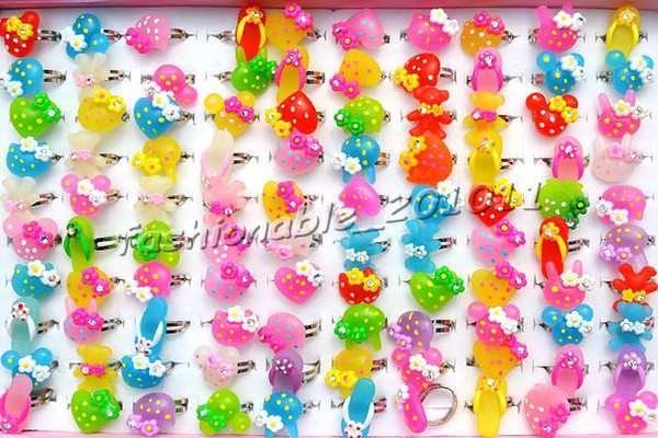 best selling FREE wholesale jewelry Mixed rhinestone Resin silver tone Children Kids Rings 13-16mm adjustable