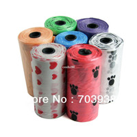 Wholesale Dog Pick Up - New Free shipping 30rolls lot Painted Pet Dog Garbage Clean-up Bag Pick Up Waste Poop Bag Refills Home Supply