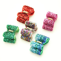 Wholesale Dog Hair Ribbons - Handmade Dogs Accessories Grooming Popular Glitter Ribbon Hair Bow Pet Supplies Exhibition.