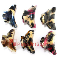 Wholesale Acrylic Hairpin - 12PCS LOT Hot Sale Jewelry Hairpin 6 Colors Mixed Leopard Printed Women Hair Clip Acrylic Hair Claw Hair Accessories, Free Shipping, JW0006