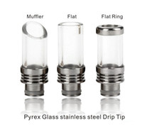 Wholesale Ce4 Vapor Atomizer - Rich Styles Pyrex muffler tip Glass Wide Bore Drip Tips Flat Drip Tip for CE4 Vivi Nov Evod 510 EGO Atomizer Mouthpieces vapor E Cigarettes