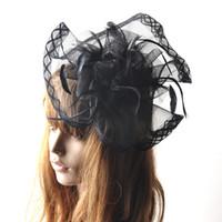 chapéu preto formal das senhoras venda por atacado-Barrettes artesanais Headwear Black lady formal fascinator chapéu net pena peruca pernilongo raças prom galinhas