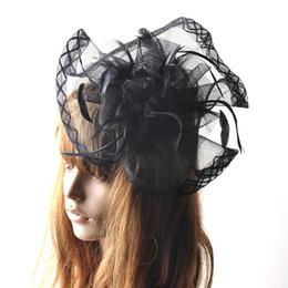 Опт Заколки для волос ручной работы Заколки для волос Черная дама Формальная сетчатая шляпа с перьями заколка для волос