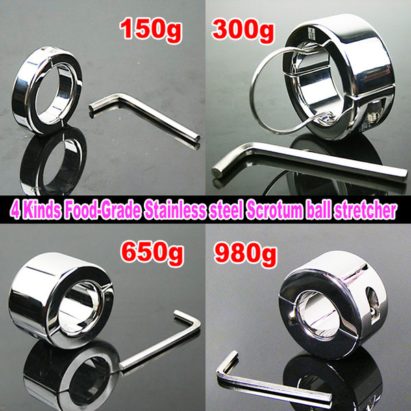 4 kinds stainless steel Ball Stretcher Male Scrotum Bondage gear Adult Sex Toys Weight Testicle Stretcher Ball
