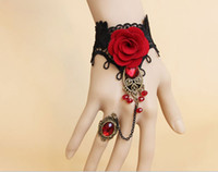 "Wholesale Diy Gothic Jewelry - Whitney_houston Jewelry DIY Handmade Retro Black Lace Vampire Slave Bracelet with Fabric Flower and Red Resin Gothic Style(approx 6"" to 8"")"