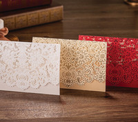 Wholesale Stock Envelopes - NEW ARRIVAL CW073 3colors in stock hollow out Invitation Wedding Invitations come envelopes sealed card 50pcs lot
