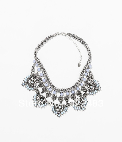 2014 high quality new arrive fashion jewelry crystal stone drop choker statement necklace for women length