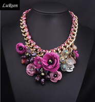 CHOKER NECKLACES Hot Sale 2014 New Fashion Jewelry Multicolour Flower Cotton Rope Knitted Chunky Declaração Mulheres