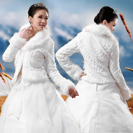 Wholesale Long Bridal Winter Jackets - New Fashion Ready To Ship White Fur Feather Hot Sale Cheap Wedding Jackets Long Sleeve High Neck Faux Fur Bridal Bolero 2014 Wedding Jacket
